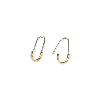2-TONE SAFETY PIN EARRING - SILVER & BRONZE
