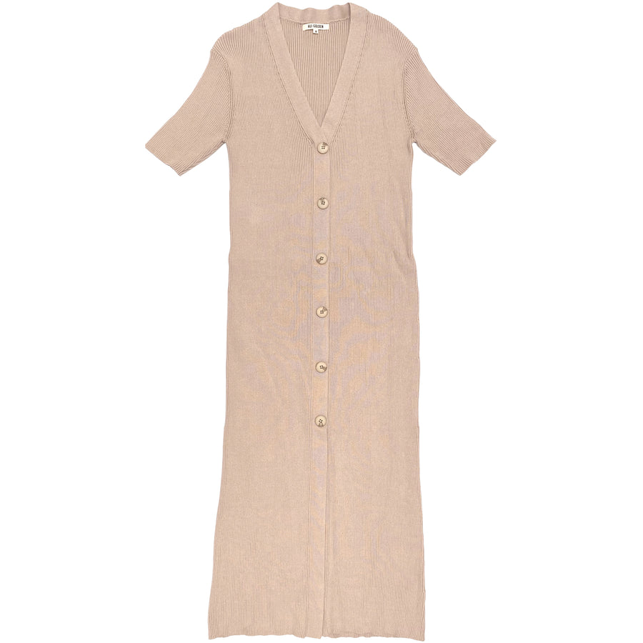 RIBBED DRESS - SAND