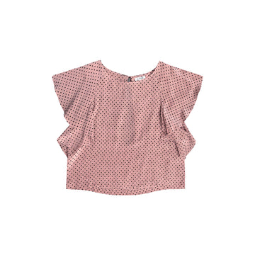 RUFFLE TOP - ROSE DOT