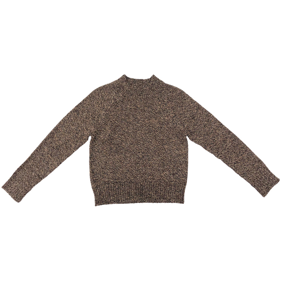 crew neck melange cropped brown sweater
