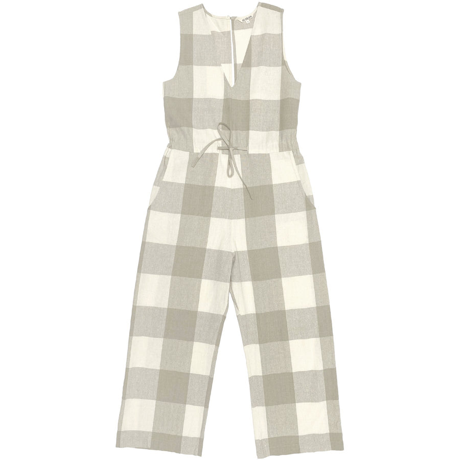 SLIT-BACK JUMPER - NATURAL GINGHAM