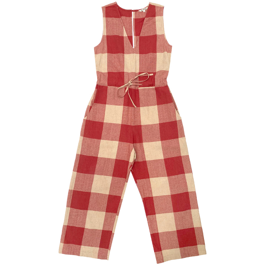 SILK SLIT-BACK JUMPER - RASPBERRY GINGHAM