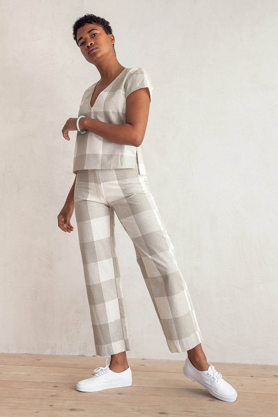 SILK FLY FRONT PANT - NATURAL GINGHAM