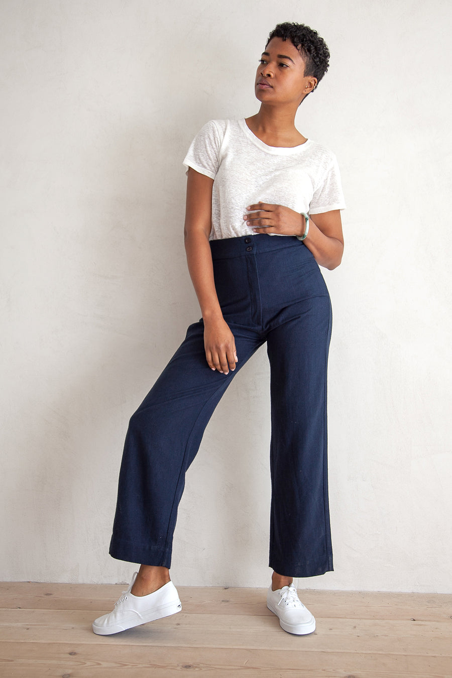 SILK FLY FRONT PANT - NAVY