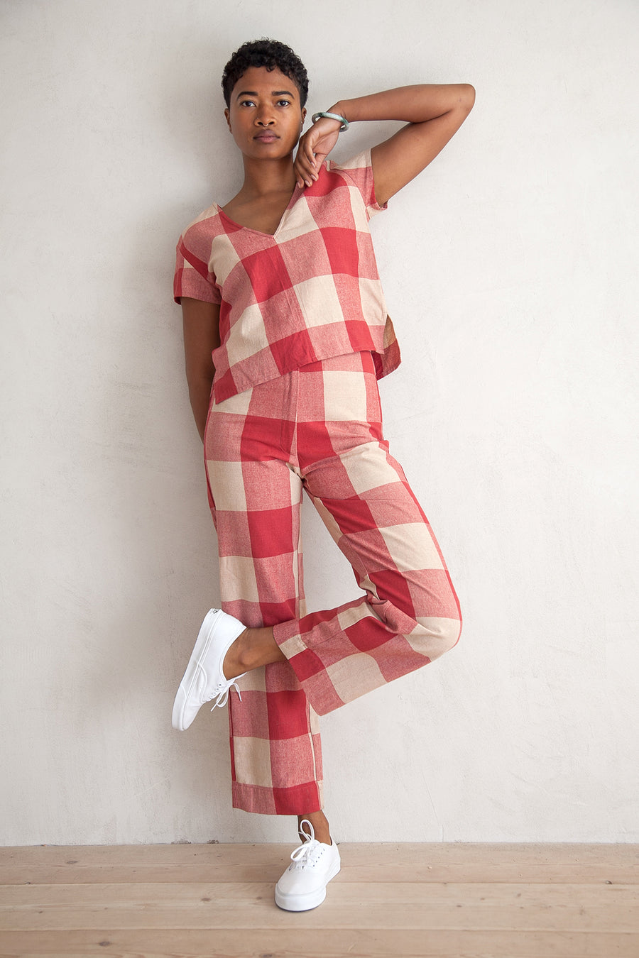 SILK FLY FRONT PANT - RASPBERRY GINGHAM