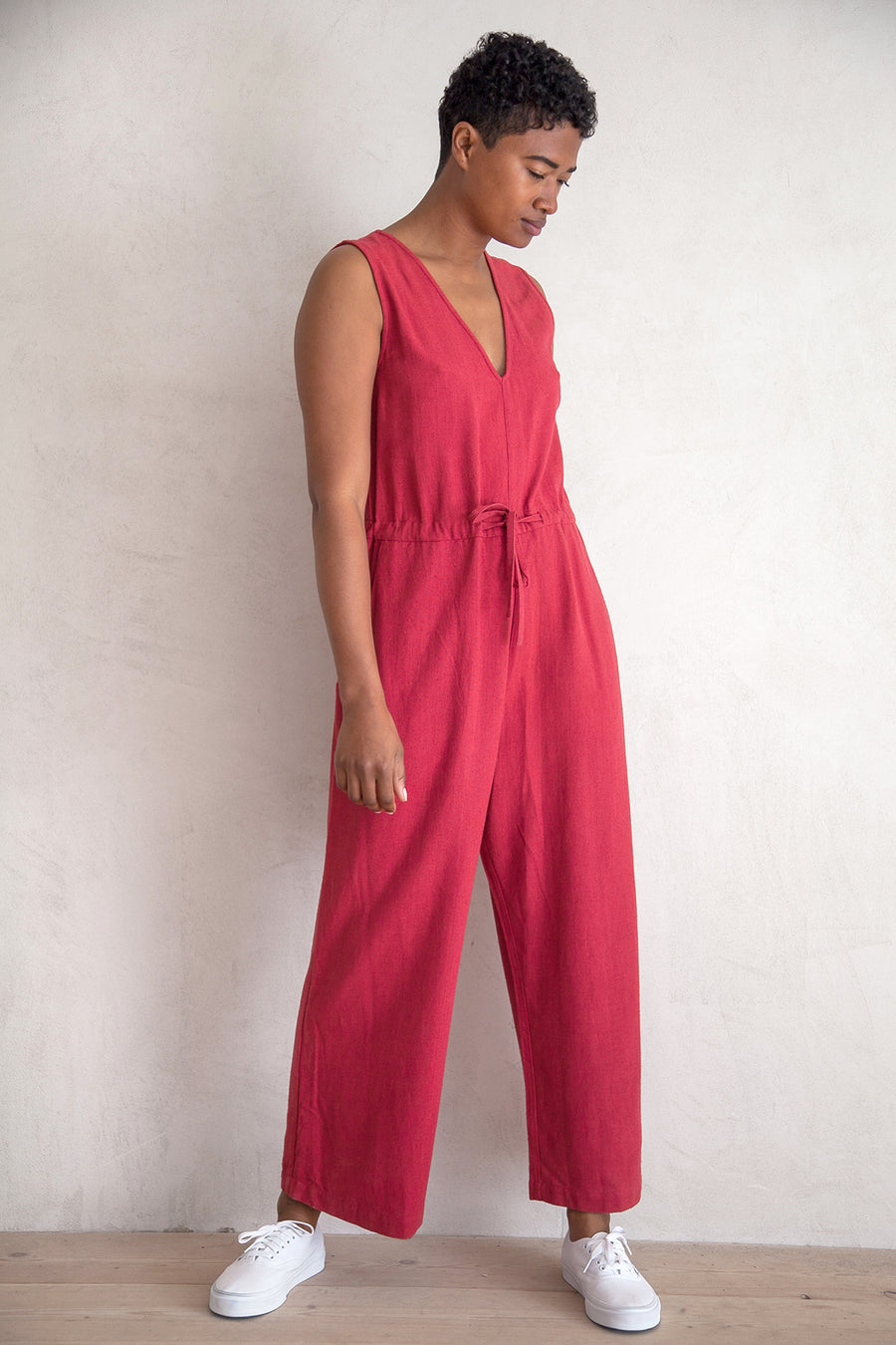 SILK SLIT-BACK JUMPER - RASPBERRY