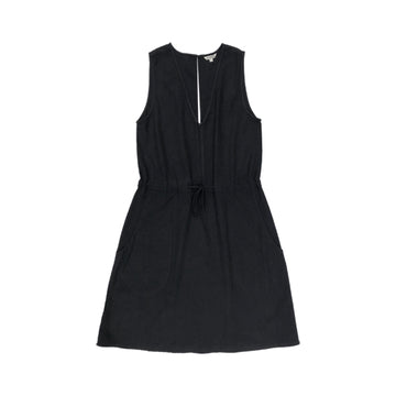 SILK SLIT-BACK DRESS - BLACK