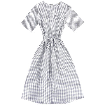 V-NECK DRESS W/ BUTTONS - GRID