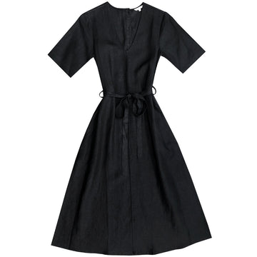 V-NECK DRESS W/ BUTTONS - BLACK