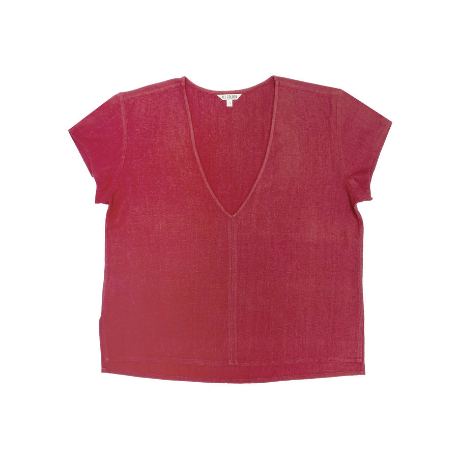 V-NECK TOP - RASPBERRY