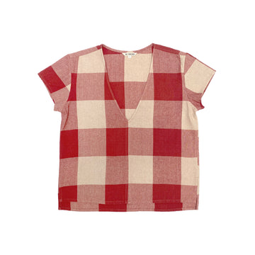V-NECK TOP - RASPBERRY GINGHAM