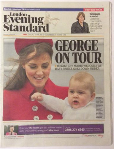 Evening Standard Mon 07 April 2014 Prince George Kate Middleton New Zealand Tour