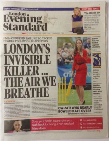 London Evening Standard Monday 14 April 2014 Kate Middleton New Zealand Tour