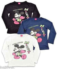 Girls Long Sleeve Disney Mickey Mouse Top Age 5 to 14