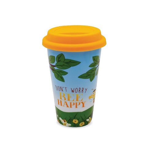 Bee Happy Ceramic Travel Mug