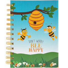 Bee Happy Wirebound Notebook 18cm x 13cm