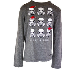 Boys Grey Star Wars Christmas Long Sleeve Tshirt