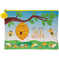 Bee Happy Pencil Case / Make Up Bag / Small Bag