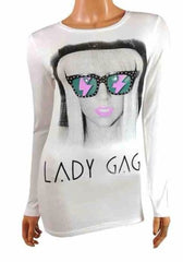 Girls Long Sleeve Top Lady Gaga ~ Ages 7-16
