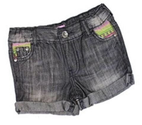 Girls Distressed Look Black Denim Shorts