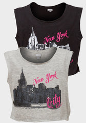Girls Funky Diva Crop Top ~ New York. City Print ~ Ages 7-12