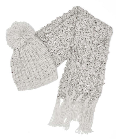Girls Grey Bobble Hat & Scarf Set with Sequin Detail