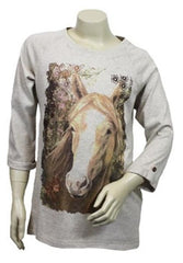 Girls Horse Print Long Sleeve Top