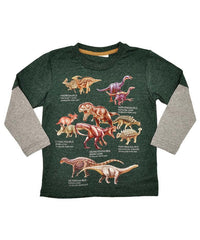 Boys Long Insert Sleeve Dinosaurs Print Top