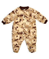 Babies Desert Brown Camouflage Fleece Sleepsuit