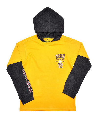 Boys Ecko Long Sleeved Hooded Top - Yellow