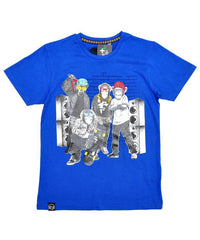 Boys Monkey Print Tshirt ~ Blue ~ Ages 7-14+