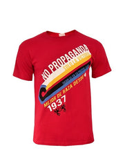Mens Red Tshirt 'No Propaganda' ~ Sizes S, M and L