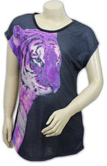 Girls Tiger Print Short Sleeved Glitter Top ~ Ages 9-10 to 15-16 ~ Black