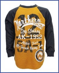 Boys Northern Yukon Long Sleeve Top Ages 2, 3 or 4 ~ Mustard/Charcoal