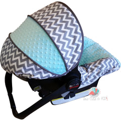 Grey Chevron Infant Car Seat Cover- Boy Colors