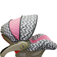 Grey Chevron Infant Car Seat Cover- Girl Colors