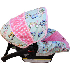Vintage Mint Carousel Infant Car Seat Cover