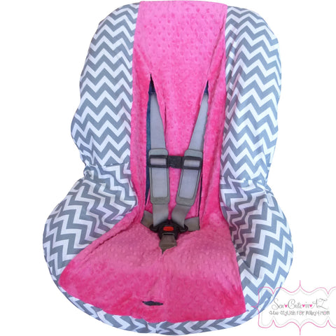 Grey Chevron Toddler Car Seat Cover