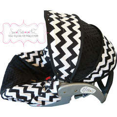 Black Chevron Infant Car Seat Cover - Boy Colors