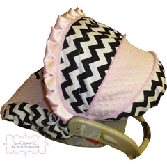 Black Chevron Infant Car Seat Cover - Girl Colors