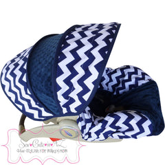 Navy Chevron Infant Car Seat Cover