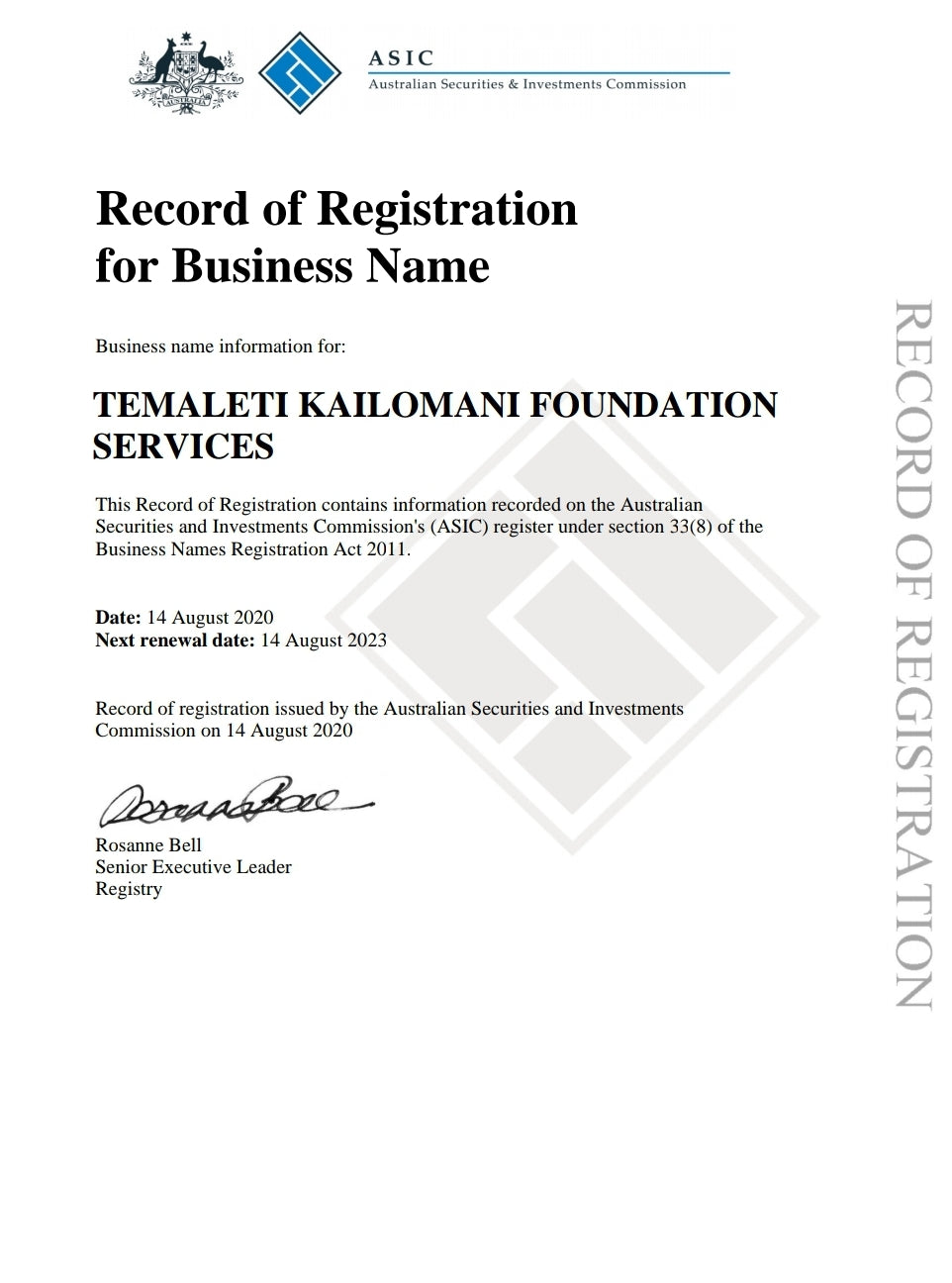 Our Business Registration