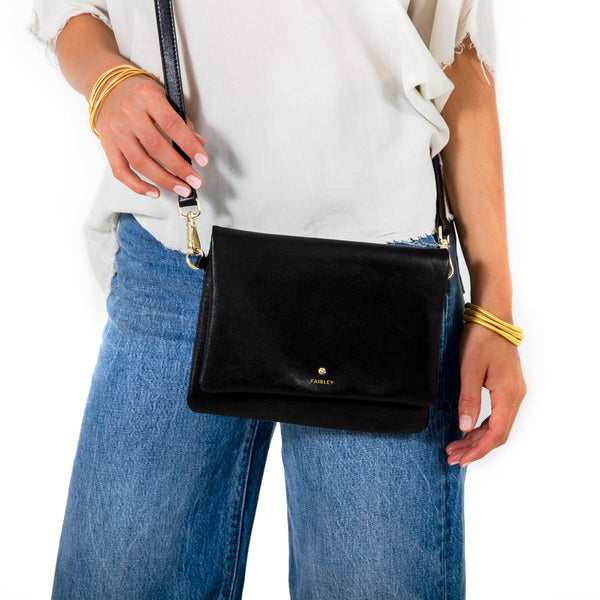 JET BLACK CROSS BODY BAG