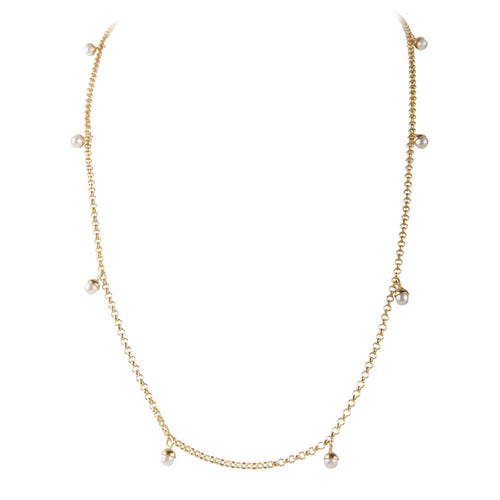 PEARL POM NECKLACE - GOLD