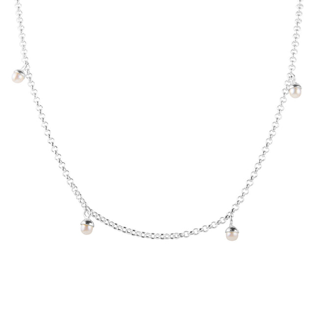 PEARL POM NECKLACE - SILVER