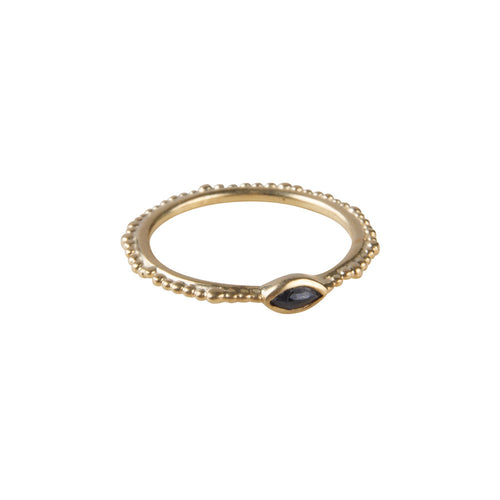 BLUE SAPPHIRE CROWN STACKER RING
