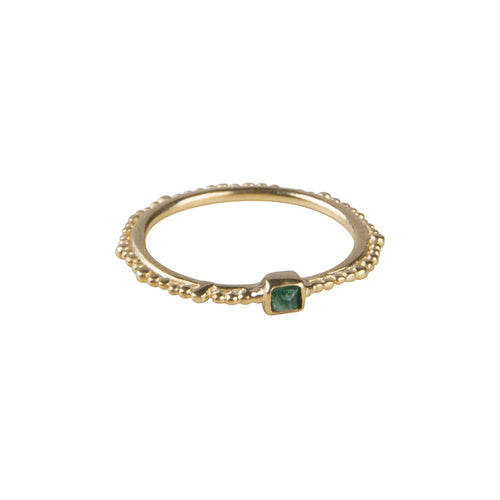 EMERALD CROWN STACKER RING