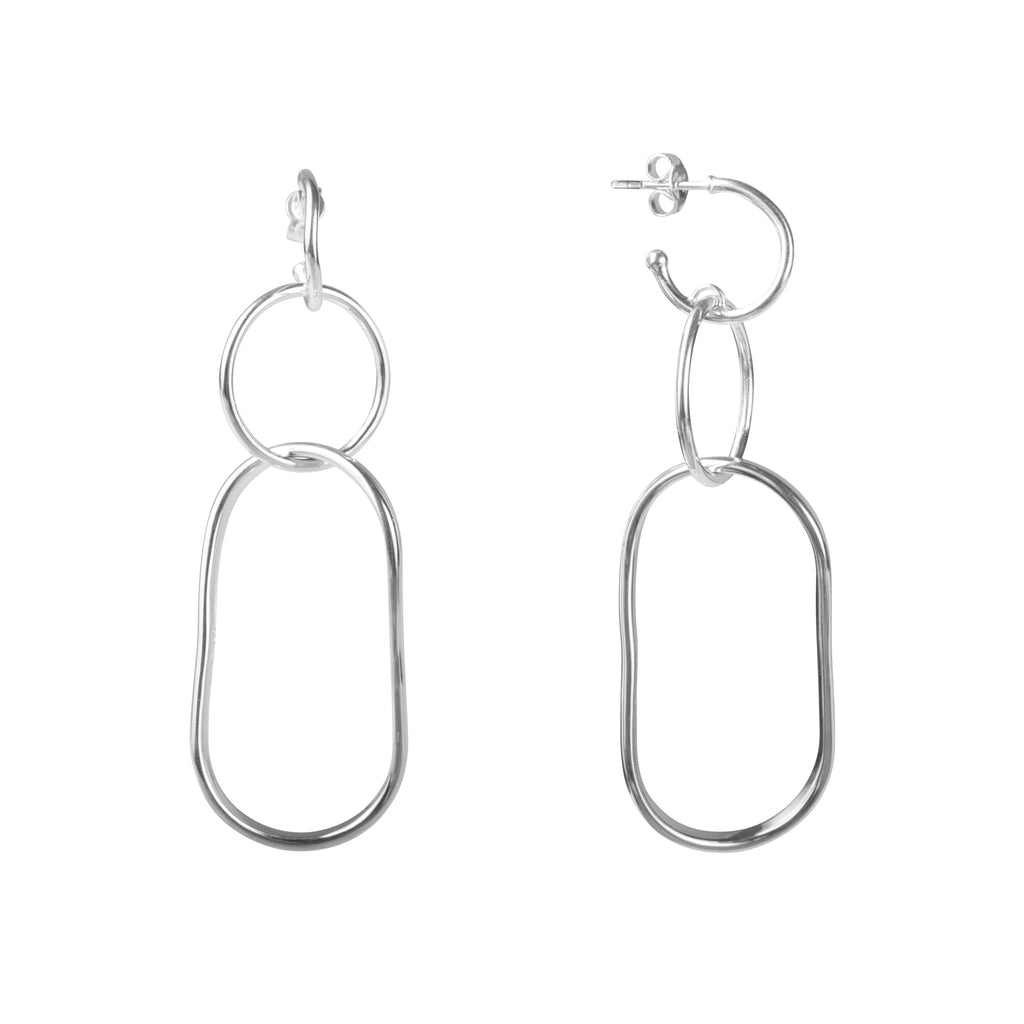 ALEXA TWIST LINK EARRINGS - SILVER
