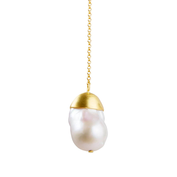 BAROQUE PEARL PENDANT NECKLACE - GOLD