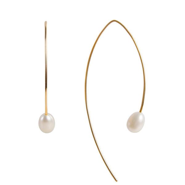 PEARL CURVE EARRINGS - GOLD